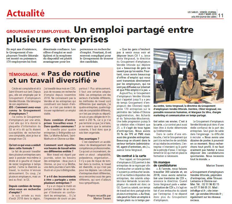 Le Journal des Sables - Article sur le Groupement d'Employeurs Vendée Littorale