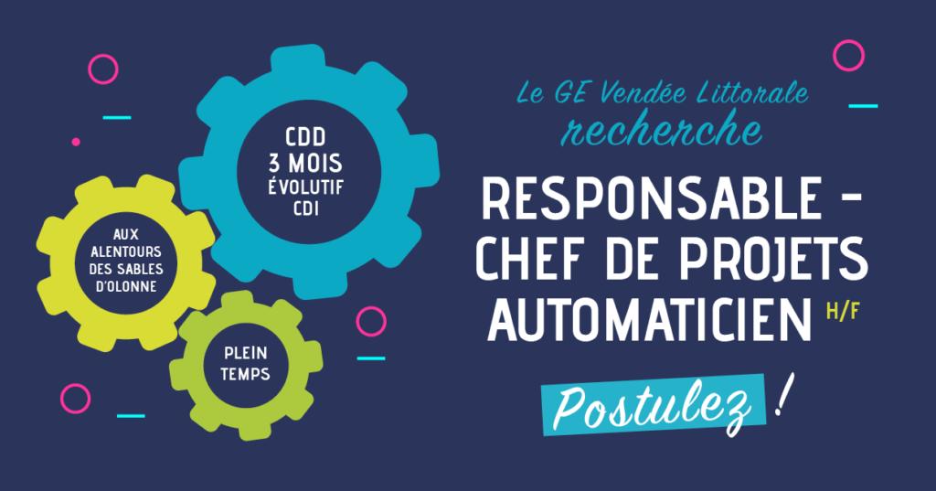 Offre d'emploi responsable Chef de Projets Automaticiens du Groupement d'Employeurs Vendée Littorale
