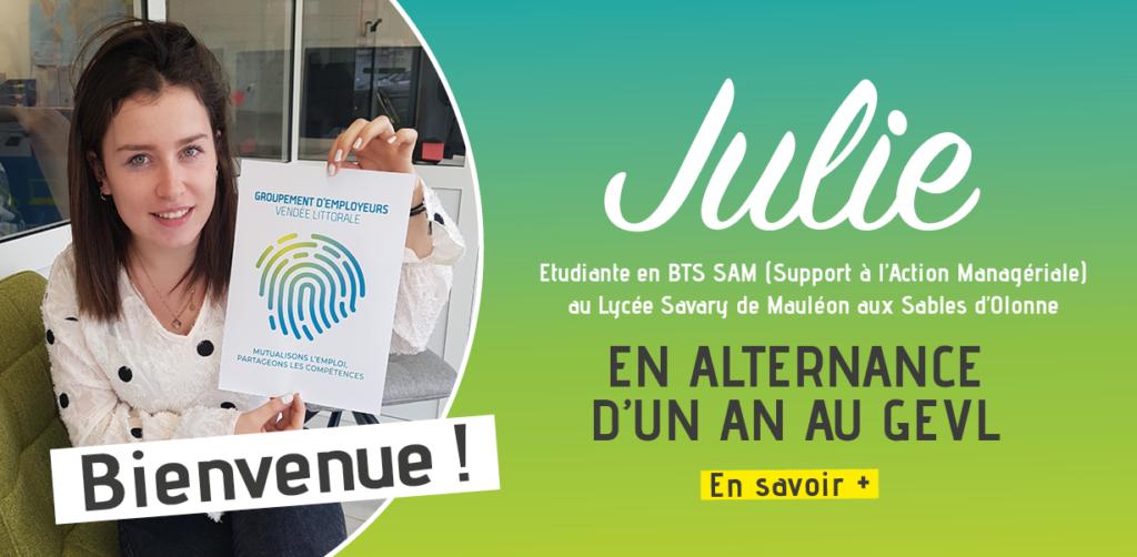Julie en apprentissage au Groupement d'Employeurs Vendée Littorale