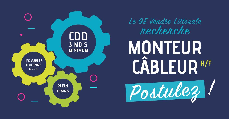 Offre d'emploi de Monteur Câbleur en Vendée aux Sables d'Olonne du Groupement d'Employeurs Vendée Littorale
