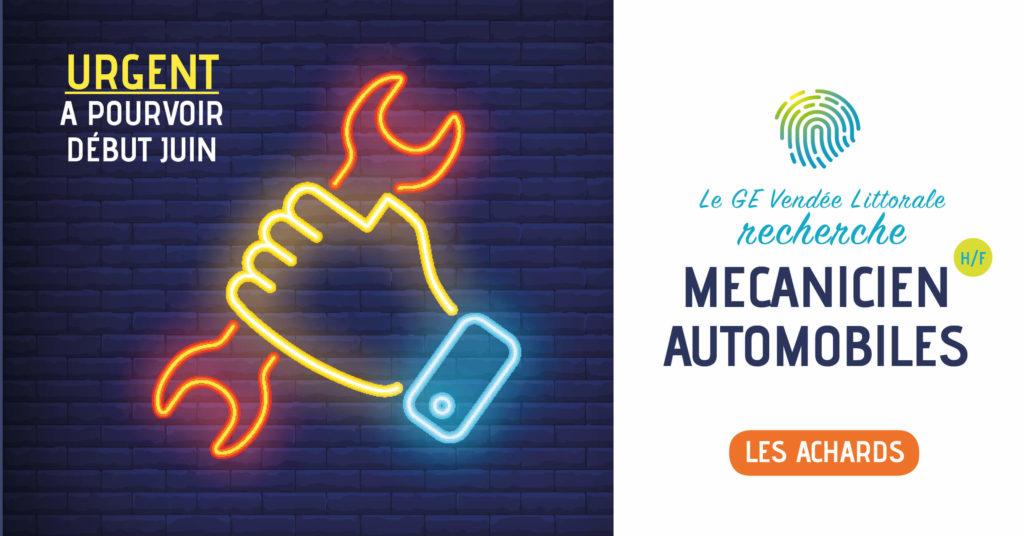 Offre d'emploi de mécanicien automobiles Homme Femme aux achards du GE Vendée Littorale