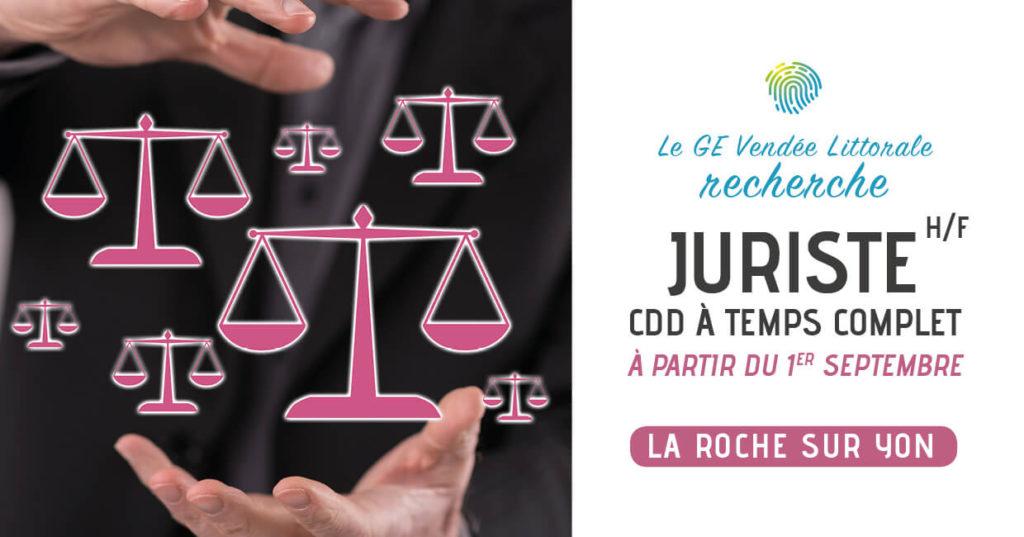 Offre d'emploi recrutement JUriste Homme Femme du GE Vendée Littorale à la Roche sur Yon