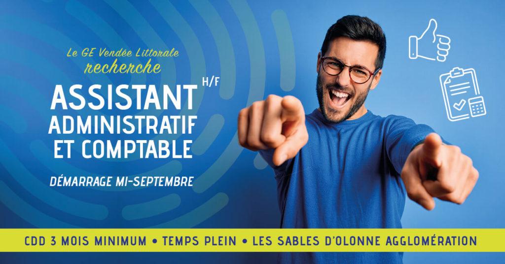 Offre d'emploi du GE Vendée Littorale pour un poste d'Assistant Assistante Administrative et Comptable aux Sables d'Olonne Agglomération